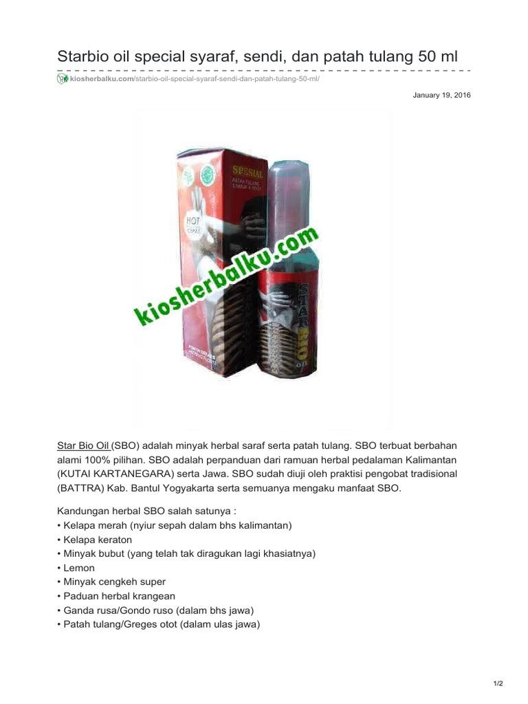 Starbio Oil Special Syaraf Sendi Dan Patah Tulang 50 Ml Kapsul Herbal Kejepit