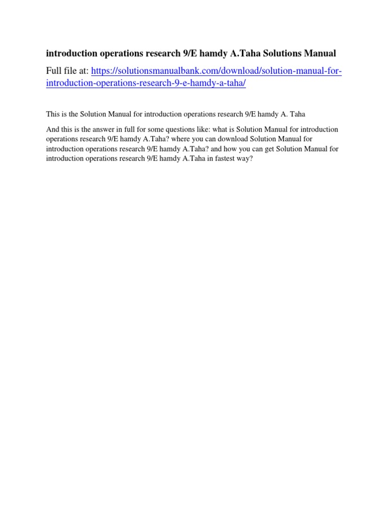 introduction operations research 9/E hamdy A.Taha Solutions Manual | Donald  Trump | United States Government