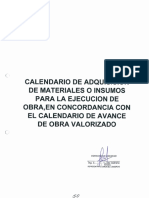 Calendario de Adquisicion de Materiales o Insumos