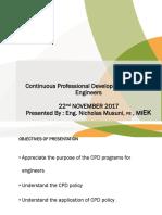 CPD Presentation by Registrar Eng.nicholas Musuni at the National Engineers Forum