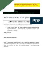 Astronomia - Um Visão Geral I