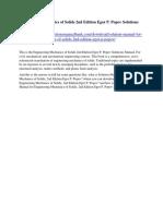 Engineering Mechanics of Solids 2nd Edition Egor P. Popov Solutions Manual