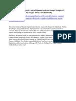 Solutions Manual Digital Control System Analysis & Design 4/E, Charles L. Phillips, Troy Nagle, Aranya Chakrabortty