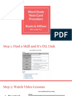 word study note card procedure - roots and affixes