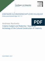 Reckwitz - 2007 - Creative Subject and Modernity.pdf