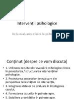 Utilizarea Evaluarii Pentru Intervenții Psihologice