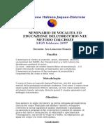 Dalcroze metodo-Vocalità ed educazione