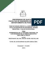 Permanencia de La Disfonía Funcional en Los Docentes de La Unidad Educativa San José La Salle