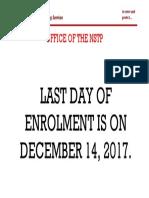 Announcement No. 2 (Dec 11, 2017)