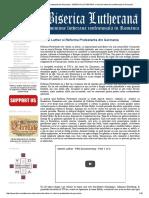 Martin Luther Si Reforma Protestanta Din Germania - BISERICA LUTHERANA, o Misiune Lutherana Confesionala in Romania