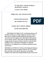 Nativity of the Holy Virgin Church - Newsletter - February, 2018