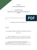Ley 169 Ley de Modificaciones Al Presupuesto General Del Estado (Pge – 2011)
