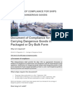 Document of Compliance for Ships Carrying Dangerous