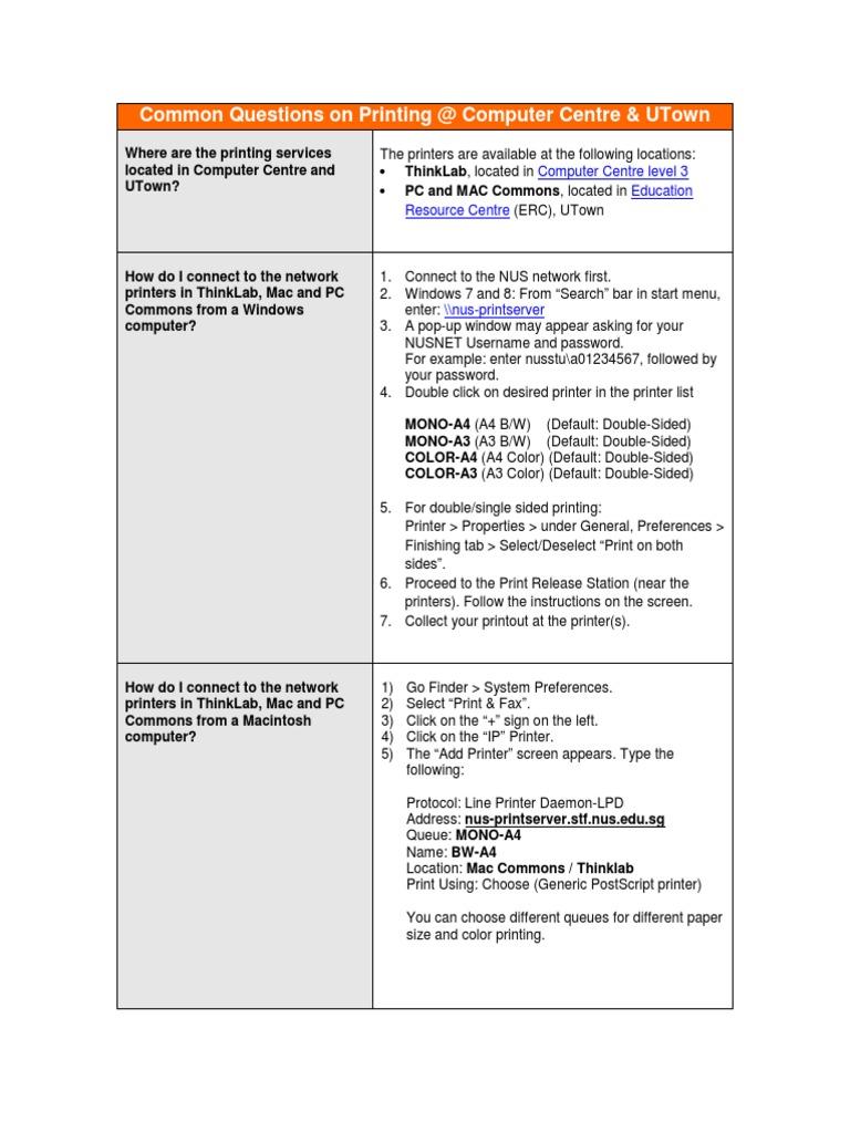 FAQ-on-Printing-@-ComCen-UTown.pdf   Printer (Computing)   Macintosh