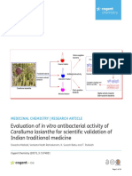 Evaluation of in vitro antibacterial activity of Caralluma lasiantha for scientific validation of Indian traditional medicine