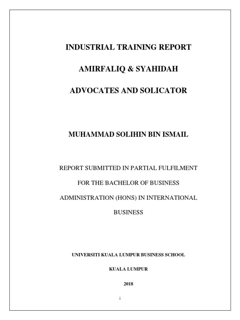 Report Unikl Internship Invoice Affidavit