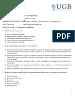 Lista de Exercícios Administração de Estoques Administração Financeira e Orçamentária