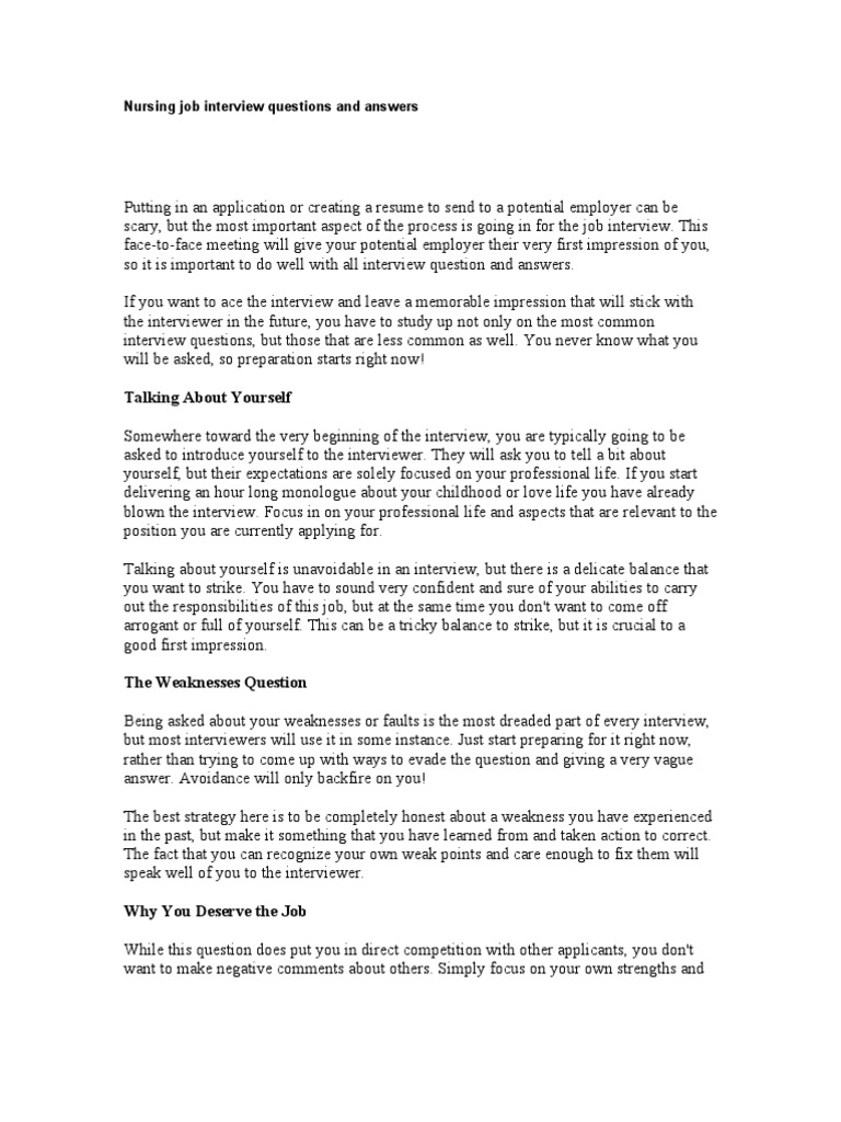 Nursing Job Interview Questions And Answers Job Interview