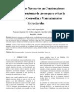 Recubrimientos Necesarios en Construcciones Civiles con Estructuras de Acero para evitar la Presencia de Corrosión y Mantenimientos Estructurales