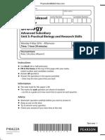June 2016 (IAL) QP - Unit 3 Edexcel Biology