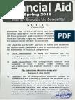 Financial Aid- Notice Spring 2018