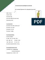 Lista de Exercícios de Avaliação Nutricional - GABARITO