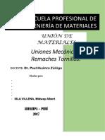 Unión de Materiales Uniones Mecánicas
