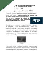 Informe de Las Actividades Realizadas Durante La Estancia en La Universidad Veracruzana