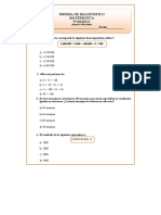5º Básico Matemáticas Prueba de Diagnóstico