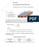 Cálculo de La Cantidad de Ladrillos Para Techo