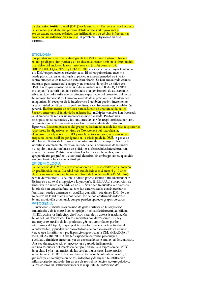 dermatomiositis juvenil signos y sintomas