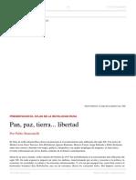 Pablo Stancanelli. Pan, Paz, Tierra... Libertad. El Dipló. Edición Nro 220. Octubre de 2017