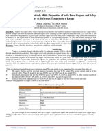 Analysis of Strength Relatively With Properties of both Pure Copper and Alloy Copper at Different Temperature Range