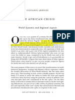 ARRIGHI, Giovanni (2002) the African Crisis - World Systemic and Regional Aspects