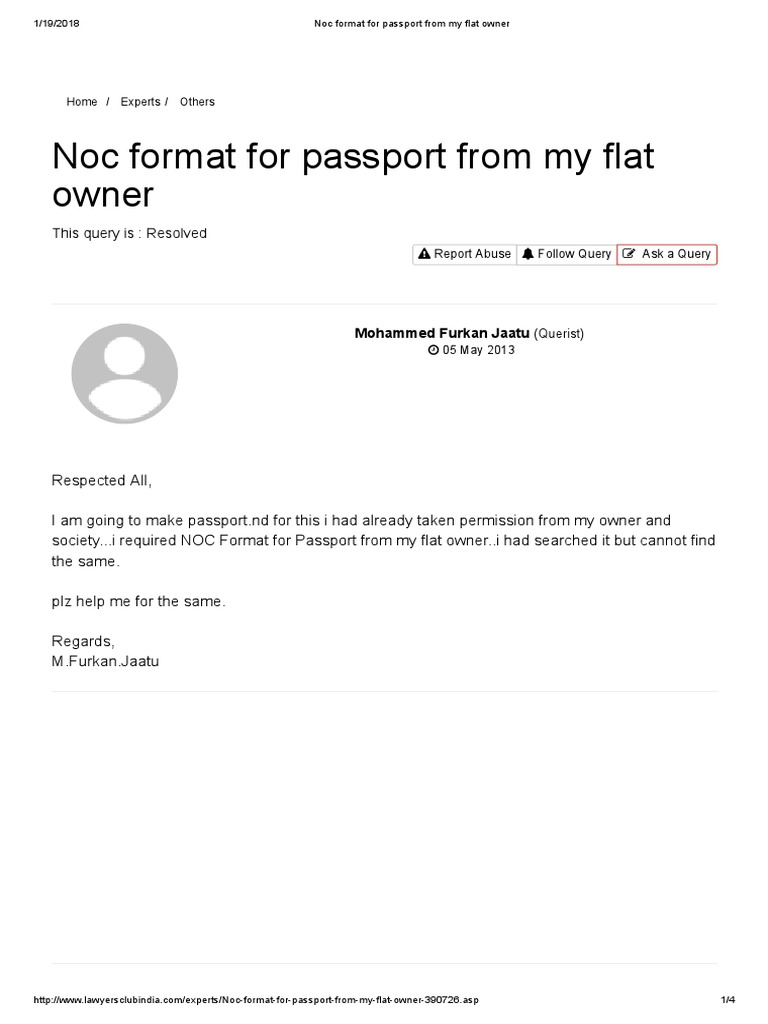 Noc Format for Passport From My Flat Owner   Passport   Common Law