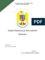 Analiza Financiara Pe Baza Indicilor Financiari
