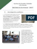 RESUMEN de ACTIVIDAD - 2017, Instituto de Estudios Sefardies y de Anusim
