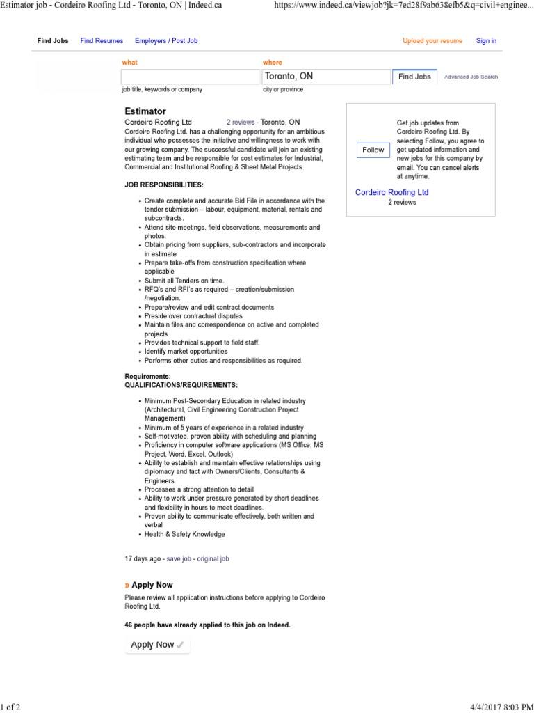 Estimator Job - Cordeiro Roofing Ltd - Toronto, On _ Indeed