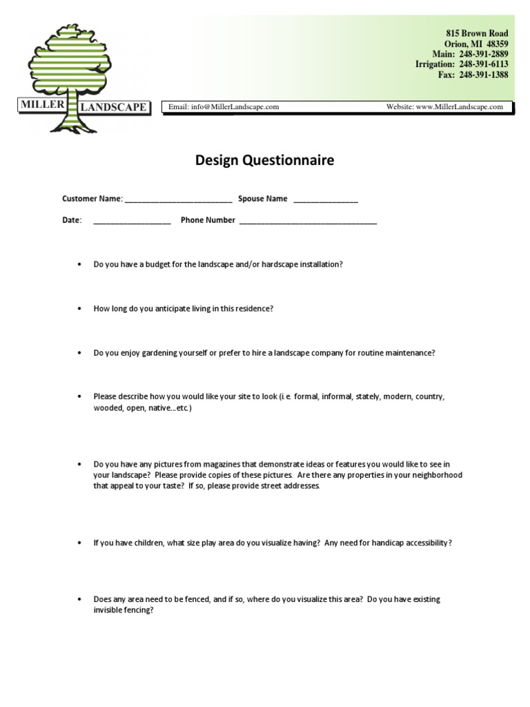 Design Questionnaire Mbr And Kpm Horticulture And Gardening