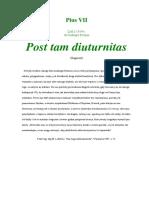 1814. Pius VII. Posta Tam Diuturnitas
