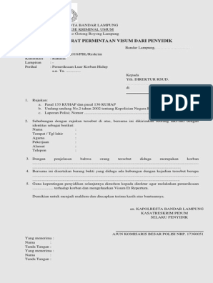 Contoh Surat Permintaan Visum Dari Penyidik