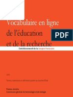 Vocabulaire de l'éducation et de la recherche