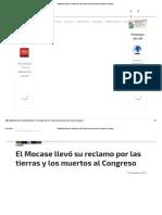 2012. 10 El Mocase Llevó Su Reclamo Por Las Tierras y Los Muertos Al Congreso