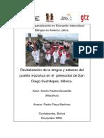 Revitalización de la lengua y saberes del pueblo mazahua en el preescolar de San Diego Suchitepec, México.