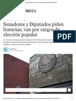 25-01-18 Senadores y Diputados piden licencias; van por cargos de elección popular