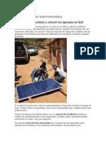 Instalar Un Sistema Solar Fotovoltaico