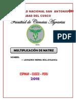 multiplicacion de matrices  UNSAAC MEDICINA VETRINARIA