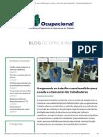 A Ergonomia No Trabalho e Seus Benefícios Para a Saúde e o Bem Estar Dos Trabalhadores