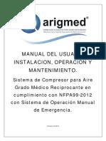 Manual Compresor de Aire Grado Medico Reciprocante Con Sistema Manual de Operacion de Emergencia 2016