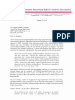 Austin-East Magnet High School letter from TSSAA